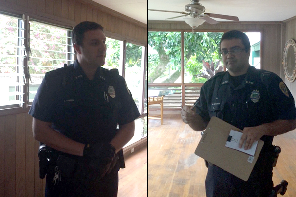 Officers Christopher Cabrera (L) and Mackenzie Metcalfe: Neither knew the applicable statutes