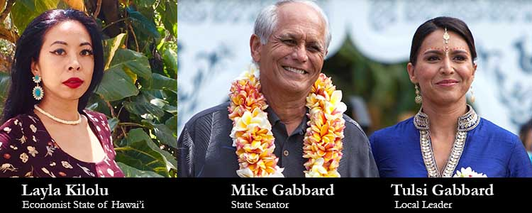 Layla Kilolu, Mike Gabbard and Tulsi Gabbard