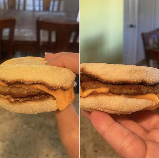 Before and After Picture of Mateo's breakfast sandwich