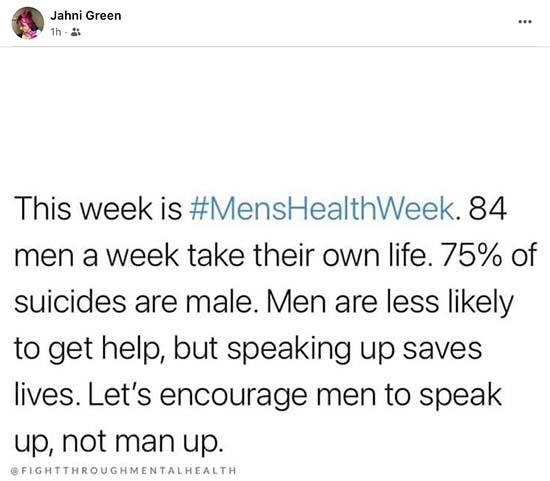 Mens Health Week ... 84 men take their life each week