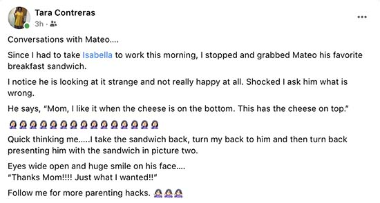 Tara Contreras parenting hacks
