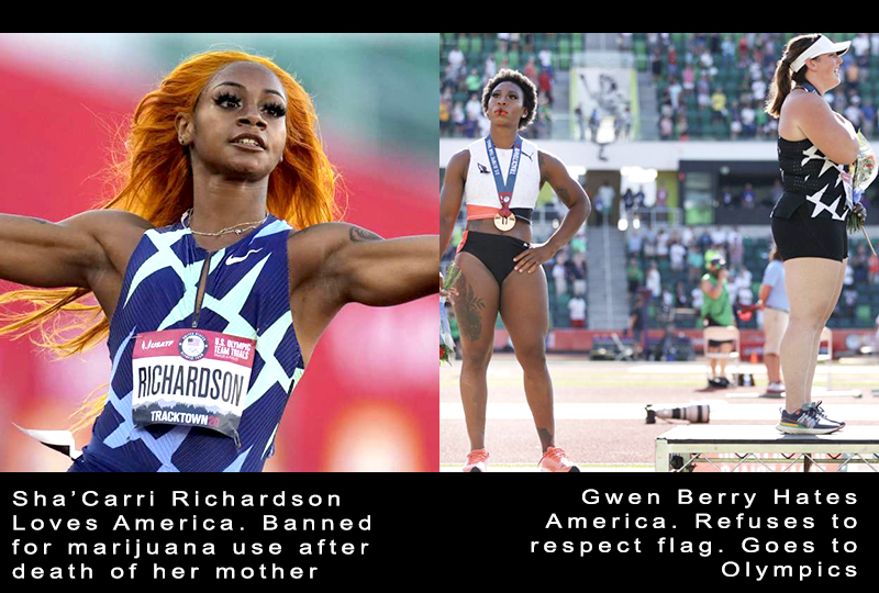 She'Carri Richardson banned for using medical cannabis due to death of her mother. Grew Berry disrespects America.