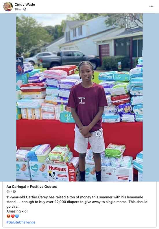 Cartier Carey has lemonade stand to raise money to give diapers to single moms