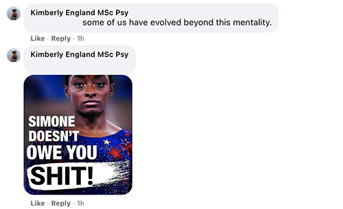 Kimberly England MSc Psy Scott Goold some of us have evolved beyond this mentality.