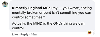Kimberly England MSc Psy laughed at my comment being disrespectful