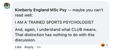 Kimberly England MSc Psy again laughs at comment to be disrespectful