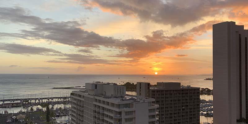 Sunset in Hawaii from Waikiki